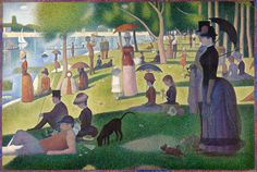 Un dimanche après-midi à l'Île de la Grande Jatte  (Sunday Afternoon on the Island of La Grande Jatte) by Georges Seurat.  Saw this at the Art Institute of Chicago.  You might not be able to tell in this pic, but the entire painting (which is 2 x3 meters!) is composed with a massive number of little dots, known as the Pointillism technique.