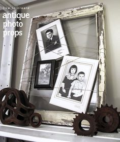 Creating photo displays with old relics from the past, via Funky Junk Interiors featured on FOLK Magazine's blog
