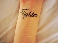 Cute Wrist Quote Tattoos for Girls - Black Fighter Wrist Quote Tattoos for Girls