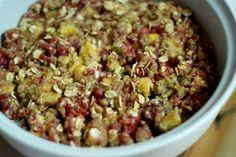 Peach, Raspberry, and Coconut Oat Crisp with Flax #vegan