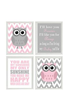 Nursery Art Owl Print Set  - You Are My Sunshine Quote - Owls Gray Pink - Chevron - Baby Girl Room - Custom Wall Art - Set Of 4 8x10 -
