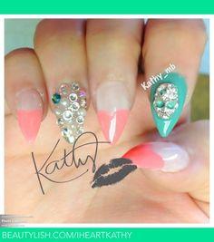 Stiletto nails   stiletto nails with heart tips   Kathy B.'s (Iheartkathy) Photo ...