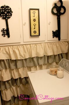 Cute Ruffled Drape or Shower Curtain on Pinterest