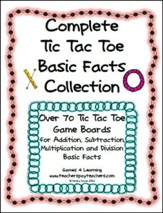 This collection of Tic Tac Toe Board Games from Games 4 Learning includes 4 separate sets with over 70 printable math board games. Let Tic Tac Toe help kids to master basic facts! Review addition, subtraction, multiplication and division facts! $