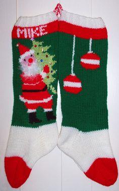 Hand Knit Christmas Stocking Santa Personalized  Custom by Topinab, $60.00