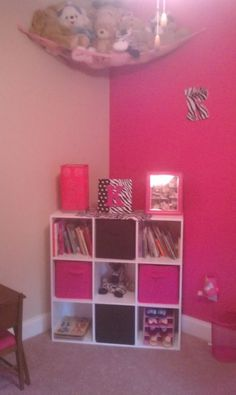 Storage pink zebra girls room ideas