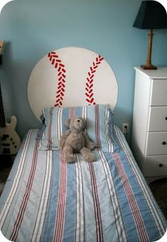 baseball headboard for a boy's bed