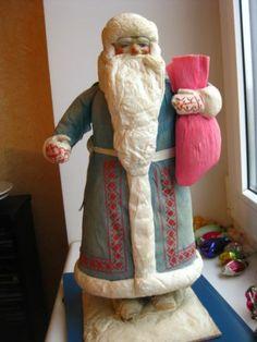 """Antique Russian Christmas spun-cotton figure """"Santa Claus"""""""