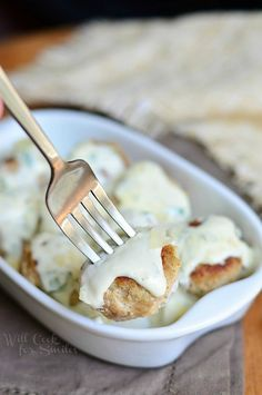 Turkey Meatballs with Creamy Parmesan Sauce 4 from willcookforsmiles.com