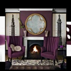 Purple fireplace w/ chairs in front