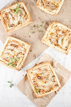 Pear and gorgonzola tarts