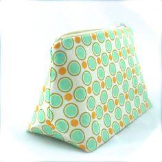 Mod Cosmetic Bag in Mint Green & Tangerine by JordaniSarreal, $11.95