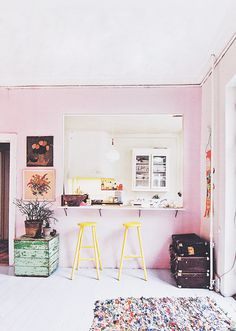 pink kitchen counter