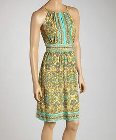 Look at this #zulilyfind! Aqua & Sage Halter Dress #zulilyfinds