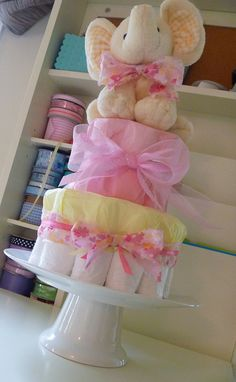 Small Girl Diaper Cake by BabyCreationsbyJen on Etsy, $25.00
