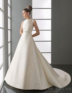Royal A-line Scoop Scoop Ruffles Wedding Dress 2014 Style