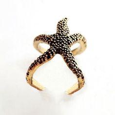 Retro Punk Style Starfish Shape Opened-Ring Finger Ring For Women