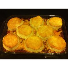 Sloppy Joe Casserole! Super easy-brown hamburger and add sauce like you would for sandwiches, pour into casserole dish, top with shredded cheese and canned biscuits, bake at 350 until biscuits are done :)
