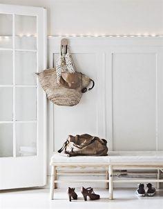 decor, interior, benches, hallways, entryways, white lights, hous, homes, entrance