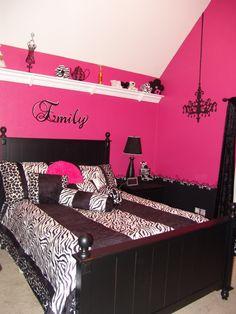Pink and Black Teen Zebra Girls Bedroom-Aubrey's room...substitute turquoise for pink. Bedroom Ideas For Girls Pink, Pink Bedrooms For Teen Girls, Bedroom Designs For Teen Girls, Girl Bedrooms, Bedrooms For Teens Girls, Bedroom Girls, Dream Bedrooms, Zebra Bedroom, Girl Rooms