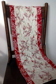 Table Runner, Quilted, Winter Birds On Branches,Rustic Christmas Table Runner, Winters Lane Fabric, Moda, Handmade, Mistletoe, Red, White
