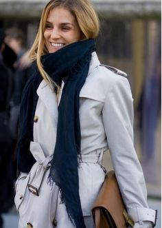 trench coat + navy scarf