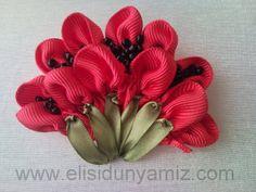 ribbonembroideri, tutorials, ribbons, tulip, silk ribbon embroidery, bordado, poppies, embroideri tutori, ribbon embroideri