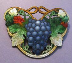 Art Nouveau Cloisonne Grapes Brooch