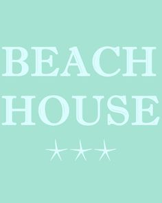 Beach House Print with Starfish in  Aqua by BelleMerGraphics,