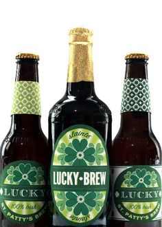 Free Lucky Brew Printable St. Patrick's Day Beer Labels, festive beer labels for next year!