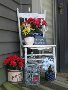 Front door stoop decor Old antique chair I found at an antique shop...pots from Michaels and fake flowers from dollar tree..