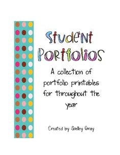 Student Portfolio Printables some of these pages would be nice in a data notebook