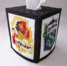Harry Potter Hogwarts houses tissue box cover in plastic canvas
