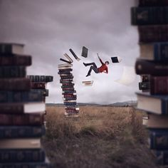 "A good visual for my ""Illustrating an Idiom"" lesson:  Falling Into A Good Book by Joel Robison"