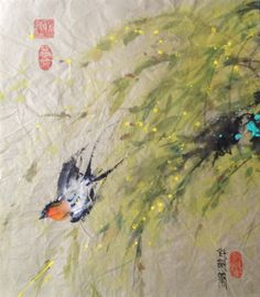 """Swallow/ Willow Ink & Color on Single Xuan 18"""" x 20""""/ raw, unmounted/ 2008"""