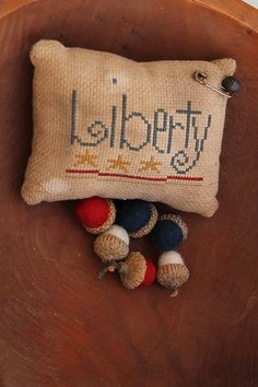 Primitive Liberty Pinkeep with Patriotic Felted by Stitchcrafts