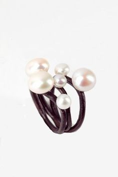 Handmade silver double pearls rings collection by EleniAntoni,