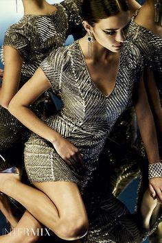 Parker Cap Sleeve V Neck Sequin Dress