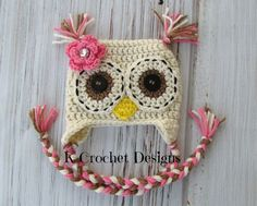 Crochet owl hatbaby girl owl hatflowercreamy by KCrochetdesigns, $28.00 Oh etsy...we need to break up. crochet hat, craft, crochet baby hats, crochet owls, hatbabi, girl owl, crochet owl hat, baby headband crochet, kid