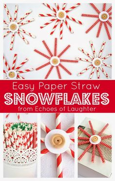 Easy Paper Straw Snowflakes- so easy to make and so cute! Perfect for a tree, in the window or as a package decoration!