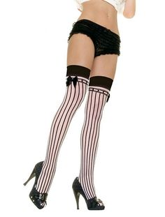 Black and Burlesque Vertical striped tights