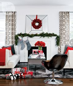 black + white Christmas with red accents
