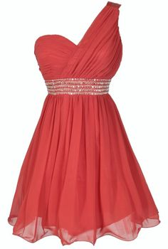 One Shoulder Embellished Chiffon Dress in Red / Coral #dress #fashion #red #coral #party #dress #one_shoulder #date #drinks #holiday