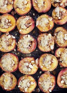 Honey roasted peaches with almond praline and marscapone.