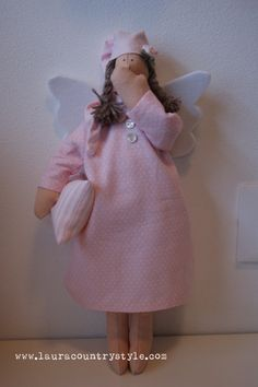 Guardian angel doll of good night , handmade and custom ,cloth doll in linen or cotton-,lovely fabric doll ,in Tilda style, gift babies
