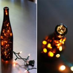DIY candle alternatives with wine bottles and Christmas lights