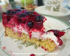 Wonderfully easy Raspberry Torte ... so pretty and so delicious. Check it out here at http://www.quick-german-recipes.com/raspberry-torte-recipe.html