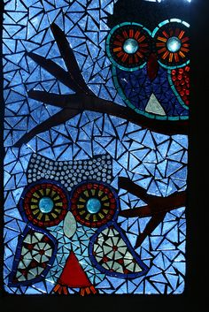 Owls. Glass on Glass Mosaic
