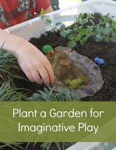 Plant a Garden for Imaginative Play - Great for indoor or outdoor play!      I really like this. My kids may be too old for this, but I guess it could just end up being a garden, right? Or I'll end up playing with the little animals in there.