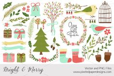 Bright & Merry - Winter Vector PNG by pixeledpaper on Creative Market - $10.